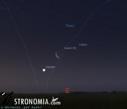 Congiunzione Luna - Venere, giorno 25 ore 5