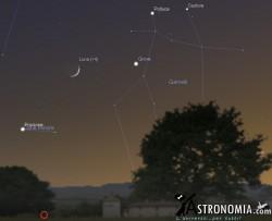 Congiunzione Luna - Giove, giorno 1 ore 21