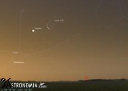 Congiunzione Luna - Pleiadi - Venere, giorno 24 ore 5
