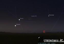 Congiunzione Luna - Giove, giorno 23 ore 5:30