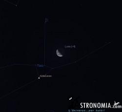 Congiunzione Luna - Pleiadi, giorno 18 ore 4