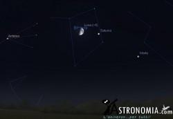 Congiunzione Luna - Saturno, giorno 4 ore 22