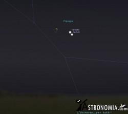 Congiunzione Venere - Giove, giorno 18 ore 5