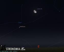 Congiunzione Luna - Pleiadi, giorno 14 ore 00:30