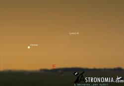Congiunzione Luna - Venere, giorno 23 ore 6:15