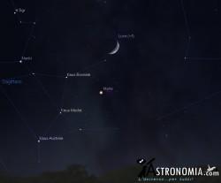 Congiunzione Luna - Marte, giorno 28 ore 19