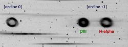 Spettro di emissione della nebulosa anulare M57 nella Lira, ottenuto con tre pose da 240 secondi.
