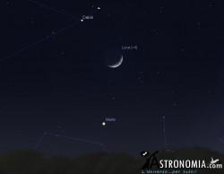 Congiunzione Luna - Marte, giorno 25 ore 19:30