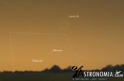 Congiunzione Luna - Mercurio, giorno 21 ore 06:00