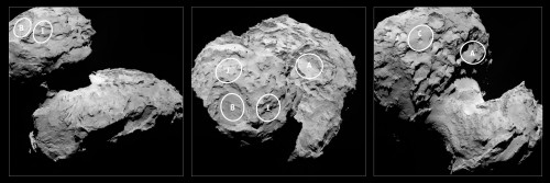 i siti di atterraggio selezionati sulla cometa