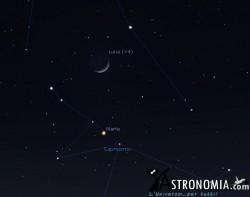 Congiunzione Luna - Marte, giorno 25 ore 18:30