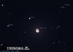 Congiunzione Luna - Giove, giorno 8 ore 2:30