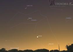 Congiunzione Luna - Marte - Mercurio - Venere, giorno 23 ore 18