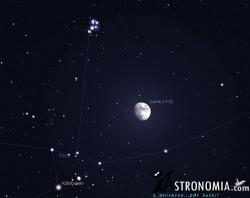 Congiunzione Luna - Pleiadi, giorno 1 ore 19