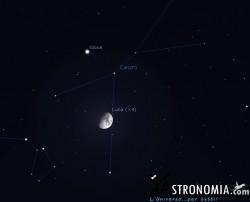 Congiunzione Luna - Giove, giorno 29 ore 23