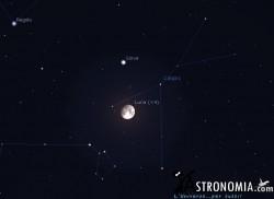 Congiunzione Luna - Giove, giorno 3 ore 00:30