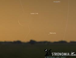 Congiunzione Luna - Mercurio, giorno 19 ore 5:50