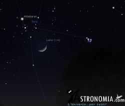 Congiunzione Luna - Pleiadi, giorno 24 ore 21:30