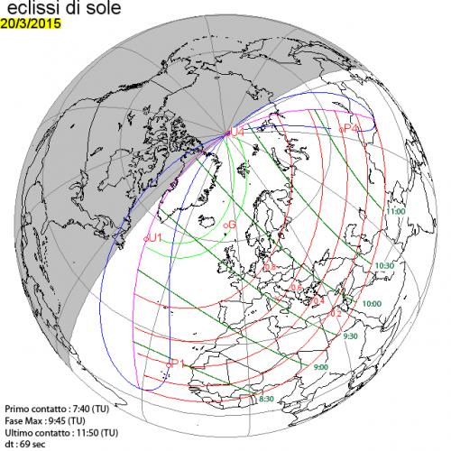 diagramma delle fasi dell'eclissi di sole