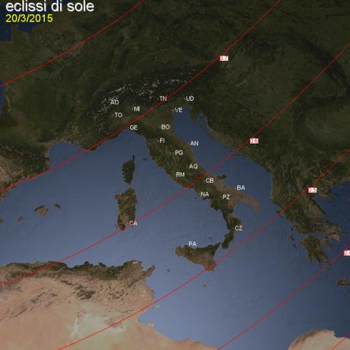 dettaglio delle curve di iso-magnitudine intorno all'Italia