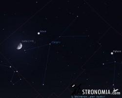 Congiunzione Luna - Giove, giorno 26 ore 23