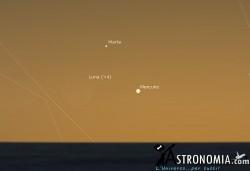Congiunzione Luna - Marte - Mercurio, giorno 19 ore 20:15
