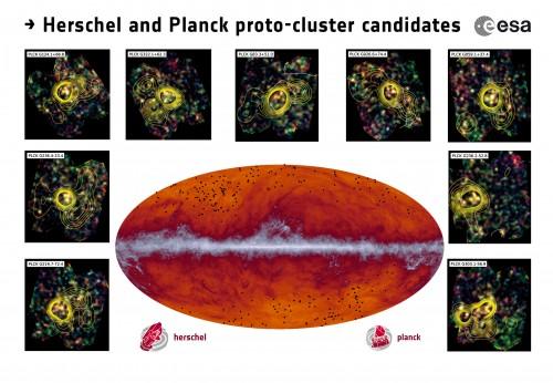 La mappa all-sky di Planck a lunghezze d'onda submillimetriche (545 GHz). La banda che scorre attraverso il centro corrisponde alle polveri nella nostra Via Lattea. I punti neri indicano le posizioni dei candidati proto-ammassi identificati da Planck e successivamente osservati da Herschel. Gli inserti mostrano alcune delle osservazioni fatte dallo strumento SPIRE a bordo di Heschel; i contorni rappresentano la densità delle galassie.