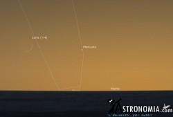 Congiunzione Luna - Mercurio, giorno 19 ore 21