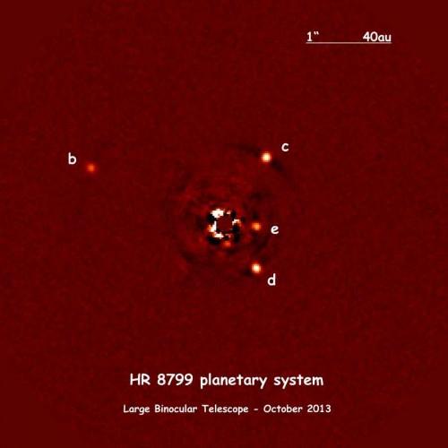 Il sistema planetario HR 8799. La maggior parte della luce proveniente dalla stella è stata rimossa dal processamento delle immagini, e in tal modo i quattro pianeti, identificati da b ad e in ordine di scoperta, sono stati facilmente rilevati.  Credit:  A.-L. Maire / LBTO