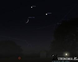 Congiunzione Luna. Giove, Venere - giorno 20 ore 22