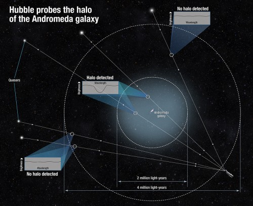 This diagram shows how scientists determined the size of the halo of the Andromeda galaxy. Because the gas in the halo is dark, the team measured it by using the light from quasars, the very distant bright cores of active galaxies powered by black holes. They observed the quasars' light as it traveled through the intervening gas. The halo's gas absorbed some of that light and made the quasar appear darker in a very small wavelength range. By measuring the tiny dip in brightness at that specific range, scientists could tell how much gas is between us and each quasar. Some quasars showed no dip in brightness, and this helped define the size of the halo.