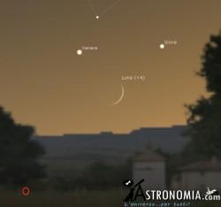 Congiunzione Luna  Giove - Venere, giorno 18 ore 21