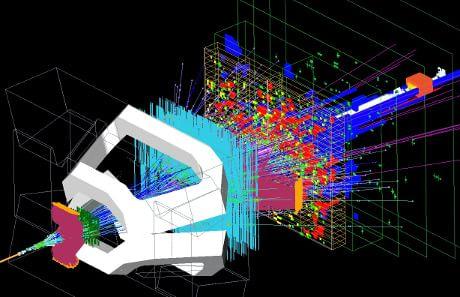 Immagine  al computer dei prodotti di collisione analizzati dall'esperimento LHCb (Cortesia CERN)