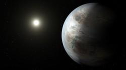 Rappresentazione artistica del pianeta Kepler-452b e della stella ospitante, Kepler-452.