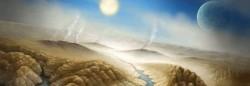 Rappresentazione artistica di un possibile scenario sulla superficie di Kepler-452b. La temperatura sul pianeta comincia ad essere già piuttosto elevata a causa del fatto che la stella sta evolvendo verso una fase evolutiva più avanzata che comporta un aumento delle sue dimensioni ed un conseguente surriscaldamento dei pianeti che orbitano in prossimità.