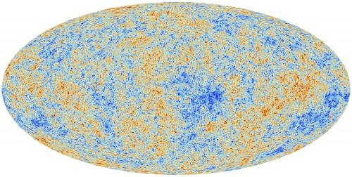 La mappa della anisotropie della radiazione cosmica di fondo ottenuta dai dati di Planck (ESA)