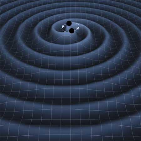 Rappresentazione artistica del burst di onde gravitazionali prodotte dalla collisione di una coppia di buchi neri che stanno per fondere. Credit: LIGO Scientific Collaboration (LSC) / NASA