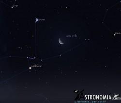 Congiunzione Luna - Pleiadi, giorno 8 ore 2