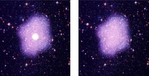 Illustrazione artistica della distribuzione della materia oscura. A sinistra, si assume una distribuzione di materia oscura secondo le teorie più convenzionali in cui si osserva un massimo concentrato in una piccola regione del centro galattico. A destra, la simulazione con materia oscura di tipo SIMP (Strongly Interacting Massive Particle) dove si osserva una distribuzione più diffusa rispetto al centro galattico. Credit: NASA, STScI, Kavli IPMU