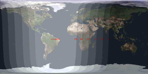 mappa in proiezione di Mercatore della zona di visibiltà dell'eclissi di Luna
