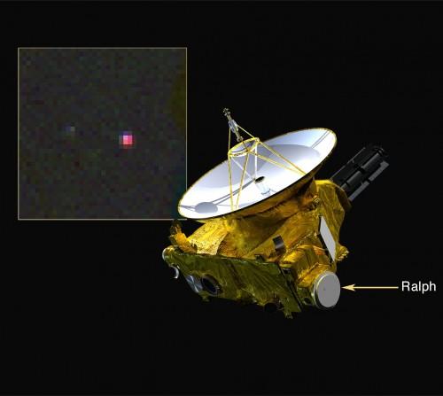 Lo spettrometro infrarosso Ralph di New Horizons ha rilevato metano su Plutone, indicato in rosa nell'immagine in falsi colori nel riquadro. Crediti: NASA/Johns Hopkins Applied Physics Laboratory/Southwest Research Institute