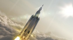 Artist's concept showing the 77-ton configuration of NASA's Space Launch System rocket launching into space. Credit: NASA/MSFC