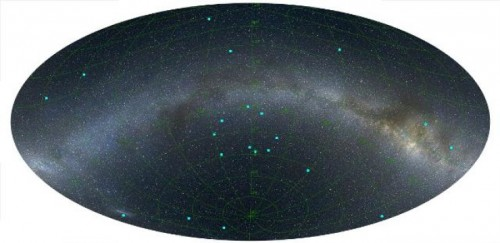 Un'immagine della distribuzione dei GRB nel cielo ad una distanza di 7 miliardi di anni luce, centrata sull'anello appena scoperto. Le posizioni dei GRB sono contrassegnati da punti blu (la Via Lattea è indicata per riferimento) che vanno da sinistra a destra attraverso l'immagine. Credit: L. Balazs