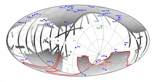 La mappa mostra la posizione delle 8 nuove galassie nane candidate (triangoli rossi) assieme alle 9 precedenti galassie nane candidate (cerchi rossi) nell'area della survey DES, 5 altri oggetti recentemente identificati al di fuori dell'area DES (rombi verdi) e 27 galassie nane satelliti della Via Lattea note prima del 2015 (quadrati blu). Quei sistemi che sono stati confermati come galassie satelliti sono stati nominati singolarmente. Crediti: A. Drlica-Wagner et al. 2015