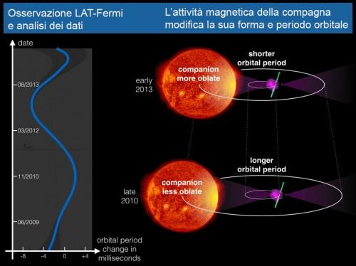 L'attività magnetica della stella compagna influenza il periodo orbitale del sistema binario. Il campo magnetico interagisce con il plasma all'interno della stella e la deforma. Man mano che la forma della stella viene deformata, anche il campo gravitazionale ne risente e, a sua volta, influenza l'orbita della pulsar (a destra). Ciò può spiegare le variazioni del periodo orbitale osservato (a sinistra). Credit: Knispel/AEI/SDO/AIA/NASA
