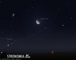 Congiunzione Luna - Pleiadi, giorno 4 ore 00:30