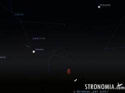 Congiunzione Luna - Venere - Marte, giorno 10 ore 5