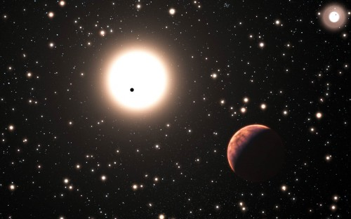 Rappresentazione artistica del sistema binario XO-2 dove si vede in primo piano uno dei due giganti gassosi orbitanti attorno a XO-2S e il secondo pianeta che le transita davanti; l'oggetto luminoso in alto a destra rappresenta la compagna XO-2N con il suo pianeta transitante (il puntino nero). Crediti: adattamento dell'immagine ESO / L. Calçada