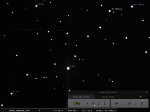 passaggio di epsilon Indi nel Tucano, secondo Stellarium