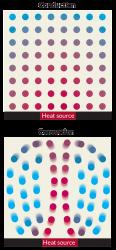 Il calore scorre attraverso il nucleo esterno liquido della Terra sia tramite conduzione che convezione. Durante la conduzione (in alto), il calore (rosso) salta tra atomi stazionari. Nella convezione (in basso), le parti calde emergono come bolle fuse in una lampada a lava, mentre quelli freddi (blu) cado verso il basso. Questo movimento agita il ferro nel nucleo esterno liquido e permette di generare il campo magnetico planetario.